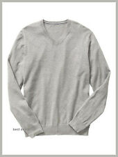 GAP Mens Soft COTTON V Neck Sweater SOLID Heath GRAY XS New FREE Fast Shipping