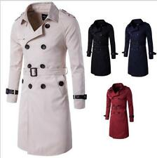 Fashion Men's Double Breasted Long Trench Coat Slim Fit Overcoat Button Jacket