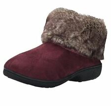 isotoner Henna Burgundy Microsuede Memory Foam Low Boot Slippers 03334BHEN