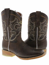 Women's brown mid calf leather cowboy boots rodeo casual western wear square toe