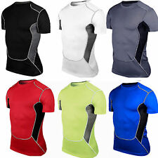 Mens Compression Under Base Layer Armour Short Sleeve Tight T-Shirt  Sport Tops