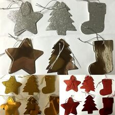 12x Christmas Gift Tags Xmas Present Hanging Tags Red/Gold/Silver Glitter/Foil