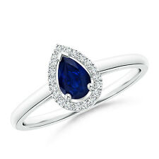 1/2 Ctw Natural Diamond Halo Pear Shape Blue Sapphire Cocktail Ring 14k Gold