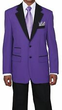Fortino Landi Men's Two Tone Poplin Dacron 2 Button Fashion Suit 7022 Purple
