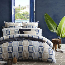 Platinum Logan and Mason Cuba Indigo Duvet Doona Quilt Cover Set Queen King Size