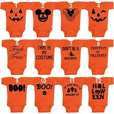 Halloween Infant Short Sleeve Onesie Jack O' Lantern Pumpkin BOO Baby Body Suit