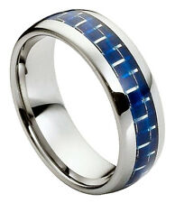 Tungsten Ring Men Women Wedding Band High Polish Blue Carbon Fiber Inlay 8mm