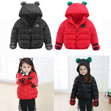 Cute Kids Boys Girls Hooded Fur Thick Warm Down Jacket Parka Outwear Clothing