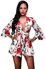 Sexy Women Jumpsuit Romper V Neck Red Floral Print Bell Sleeves Mini Romper HOT