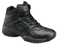 Skidbuster Mens Slip Resistant Mid Cut Athletic M Black Leather Shoes
