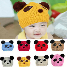 Girls Boys 1 pcs Baby Love Panda New Cap Hot Cute knit Crochet Wool Beanie Hat