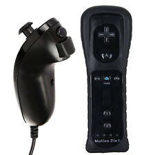 Black Remote Wiimote Nunchuck Controller Set Combo for Nintendo Wii U Game HOT