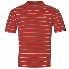 Dunlop Striped Polo Shirt Mens Red/White Sports Top Tee T-Shirt