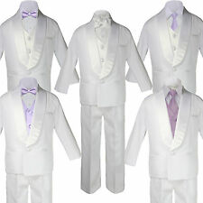 Baby Teen White Satin Shawl Lapel Suits Tuxedo LAVENDER Satin Bow Necktie Vest