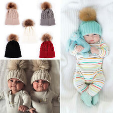 Winter Warm Children Cap Wool Pompom Large Ball Baby Kids Crochet Knitted Hat