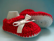 Handmade Crochet / Knit Beautiful Baby Girls Sparkly Red Shoes / Booties 4 Sizes