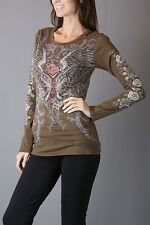 Sexy & Sinful Guns & Roses Wings Heart Crystal Junior Long Sleeve Top S M L XL
