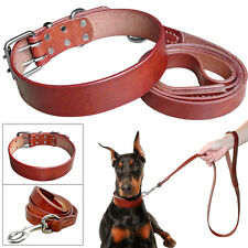 Didog Plain Genuine Leather Small Large Dog Collars and Leashes Set Adjustable