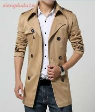 New Mens Leisure Double Breasted Trench Belted Slim fit Windbreak Parka Coat #