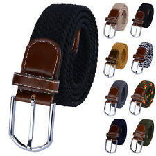Fashion Mens Stretch Braided Elastic Woven Buckle Belt Waistband Waist Straps 1*