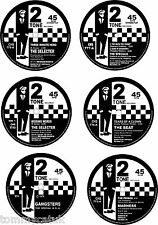 Ska 77mm Round Exterior Vinyl Decals 2Tone RudeBoy 45rpm Single Centres x6/ New