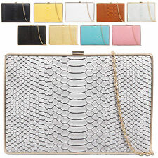 Ladies Designer Snakeskin Box Clutch Bag Evening Snake Skin Handbag Purse K5127