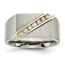 Chisel Brushed Titanium & 14K Gold Inlay .20 ct A Diamond Ring Size 8 to 13