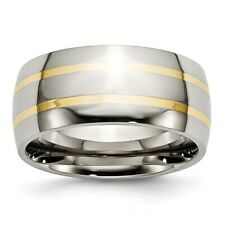 Chisel 10mm Polished Titanium & 14k Yellow Inlay Band Size 8 to 14