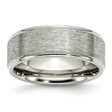 Chisel 8mm Brushed Stainless Steel Ridged Edge Band Size 8 to 14