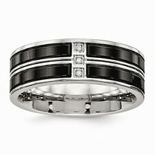 Chisel 8mm Stainless Steel Polished Black IP-Plated Three CZ Band Size 7 to 13