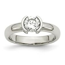 Chisel Polished Stainless Steel Round Clear CZ Ring Size 6 to 9