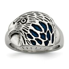 Chisel Polished Stainless Steel Blue Eagle Head Ring Size 9 to 11