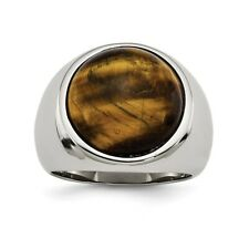 Chisel Stainless Steel Tiger's Eye Ring Size 9 to 11