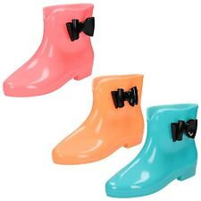 Ladies Spot On GLOW IN THE DARK Ankle Wellington Boots X1213 Style ~ K