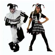 New Harlequin Jester Clown Circus Costume+Hat Halloween Adult Funny Dress Suit'