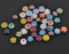 Wholesale Mixed Millefiori Glass Flat Round Loose Spacer Bead Charms DIY Making