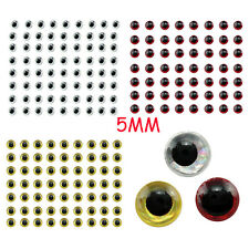 500pcs 5mm Gold Holographic 3D Fishing Lure Eyes Fly Tying Jigs Craft Dolls Nice