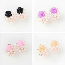 1 Pair Roses Fashion Party Gift Pearl Buckle earrings Women Color New 2016