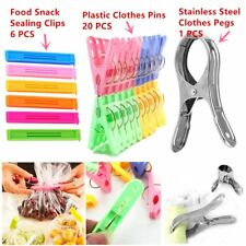 20PCS Plastic Laundry Clothes Pins Hangers Spring Clamp Clips GK