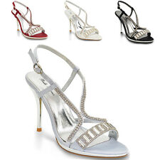 WOMENS HIGH HEEL PLATFORM DIAMANTE LADIES WEDDING PROM SHOES SANDALS SIZE 3-8