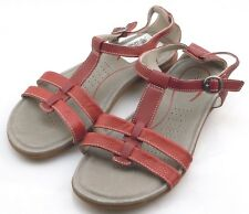 KEEN 1014333 Rose City T-Strap Womens Red Dahlia Leather Sandals Size 7 US