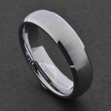 6mm Tungsten Silver Satin Dome Top Shiny Bevel Edge Unisex Wedding Band