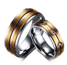 Ring Women Men 18K Gold-Plated Stainless Steel Engagement Wedding Jewelry