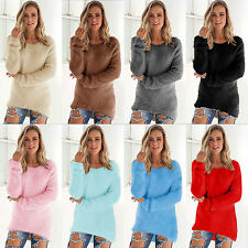 Womens Long Sleeve Velvet Shaggy Casual Sweater Winter Warm Pullover Jumper Tops