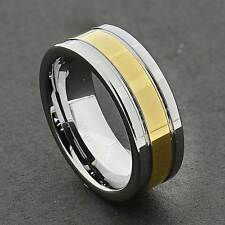Tungsten Carbide Center Gold Strip Inlay Grooved Edge Ring Mens Wedding Band