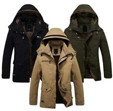Mens Military Parka Outerwear cotton Jacket Warm Fur lined Long Coat Hooded new