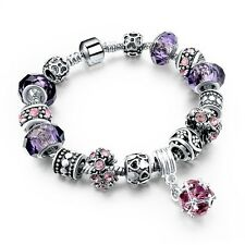 925 tibetan Silver Crystal Charm Bracelet Women Murano Glass Beads bangle