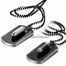 Army Military Mens Womens Bullet Black Dog Tag Pendant Necklace Bead Chain Gift