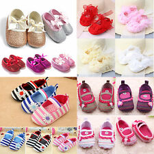 Newborn Baby Girls Crib Shoes Toddler Walk Prewalkers Soft Sole Anti-slip Shoe