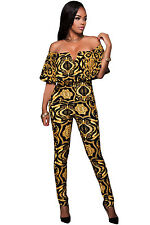 Sexy Women Bodysuit  Slash Neckline Plunging V  Tapestry Print Belted Jumpsuit